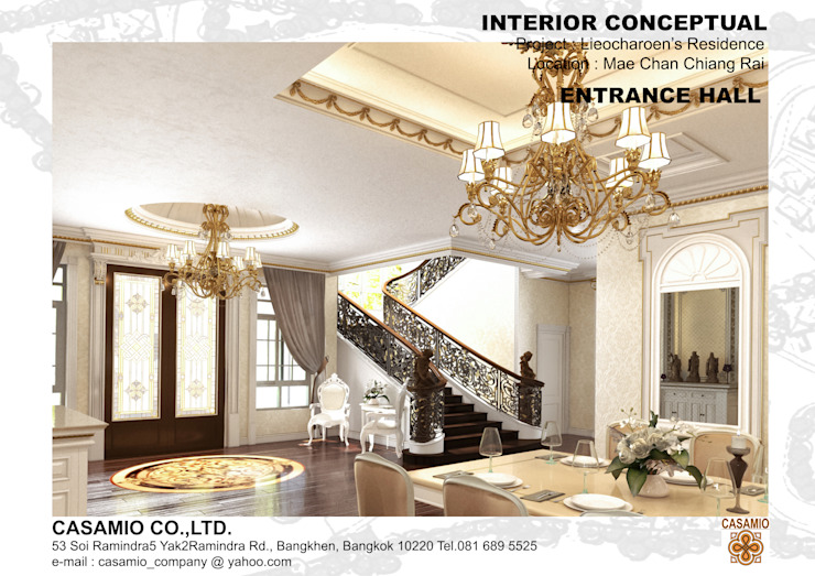 LIEOCHAROEN's RESIDENCE Classic style corridor, hallway and stairs by CASAMIO Co.,Ltd. Classic