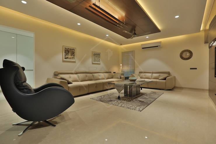 SKY DECK Asian style living room by SPACCE INTERIORS Asian