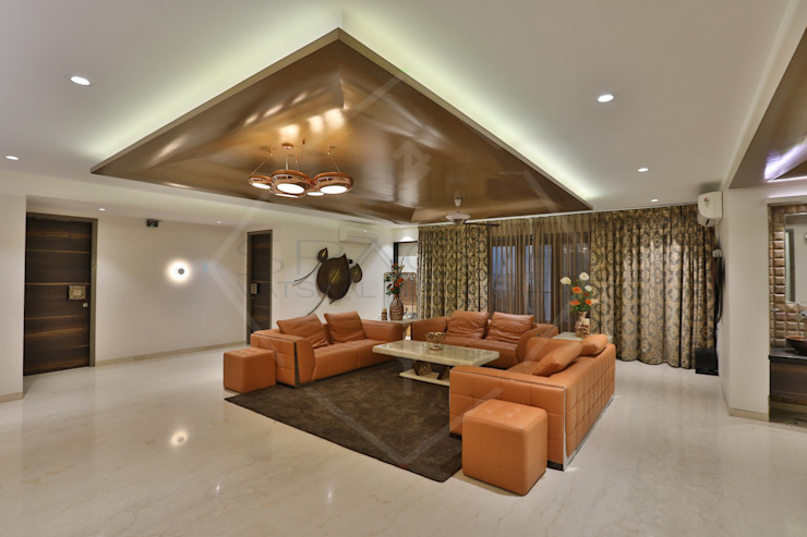 CAPITAL GREEN - 1 Asian style living room by SPACCE INTERIORS Asian