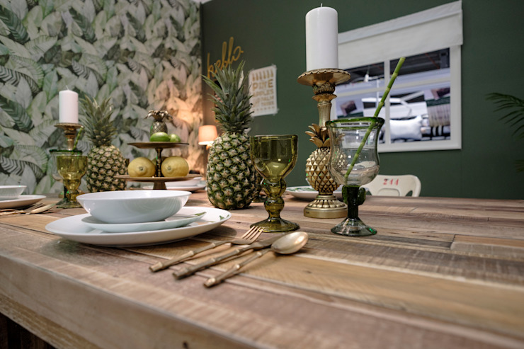 Rustic Tropical Dining Room Little Mill House Rustic style dining room Green