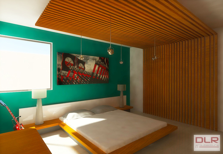 DLR ARQUITECTURA/ DLR DISEÑO EN MADERA Minimalist bedroom Wood Multicolored