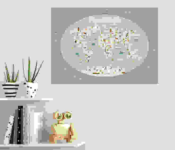 Mapamundi infantil ovalado color gris Menudos Cuadros Dormitorios infantiles Accesorios y decoración