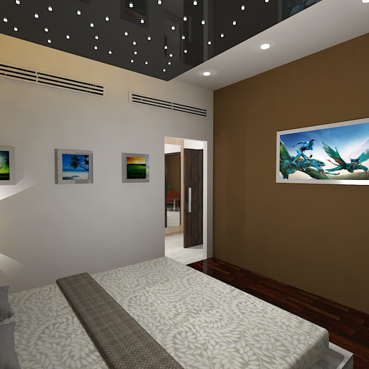 Palacio 1BHK Modern style bedroom by Gurooji Designs Modern