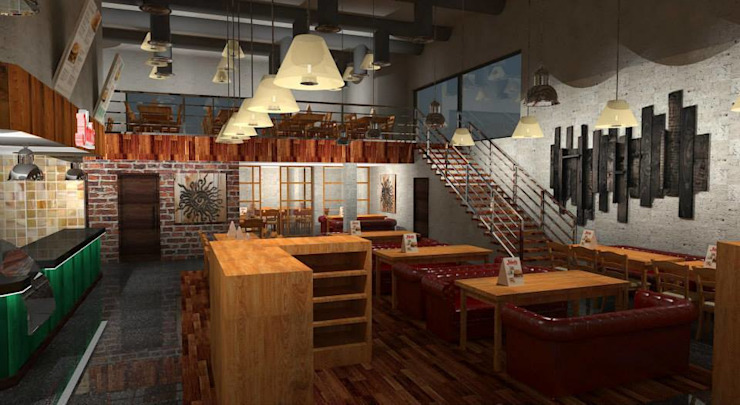 Restaurant Design Rustic style hotels by Gurooji Designs Rustic