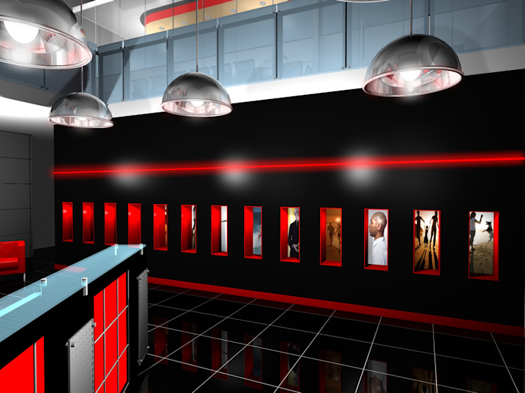 Thin Red Line - Office Modern offices & stores by Gurooji Designs Modern