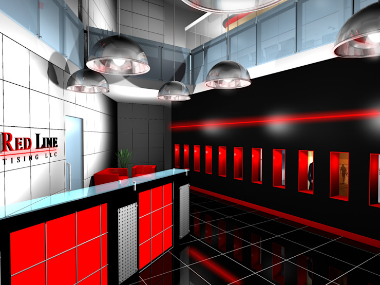 Thin Red Line—Office Modern offices & stores by Gurooji Designs Modern