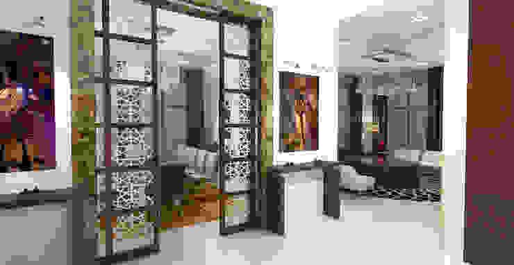 Barari Villa Modern corridor, hallway & stairs by Gurooji Designs Modern