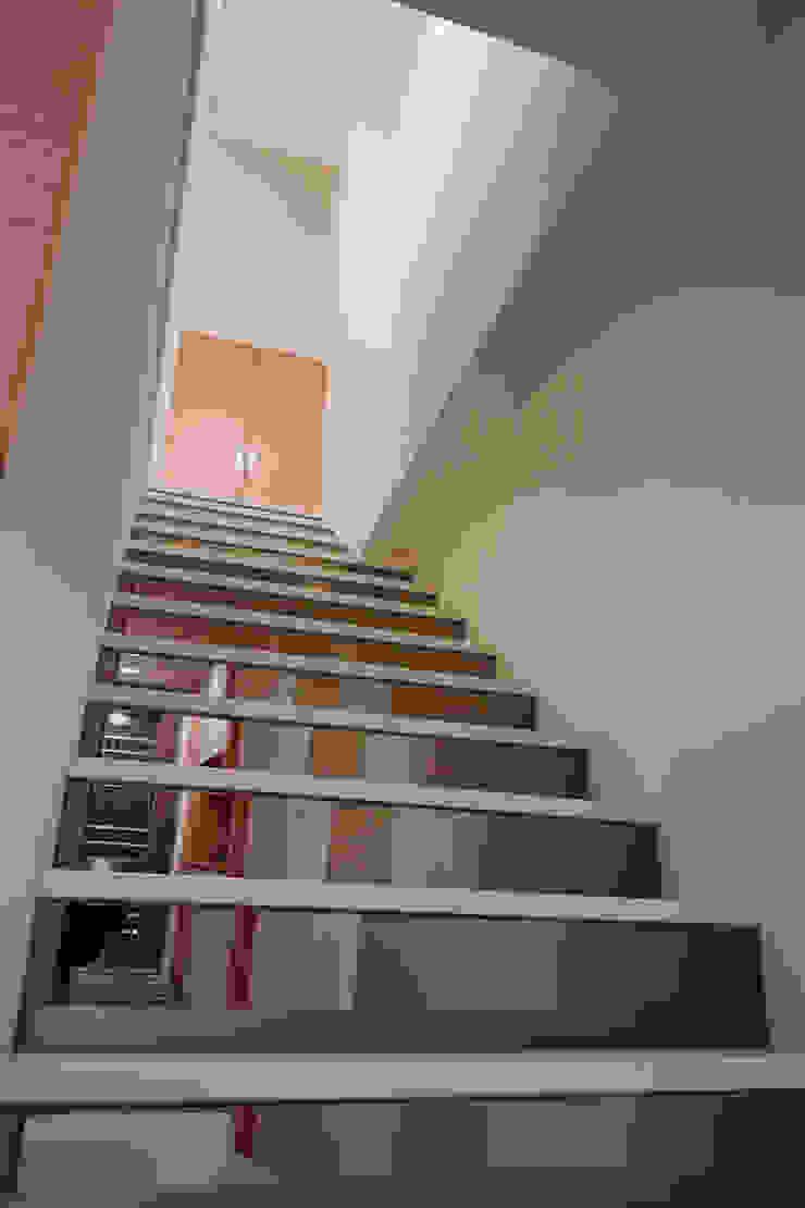 用鏡面減少樓梯的厚度也放大空間的尺度 亞洲風玄關、階梯與走廊 根據 弘悅國際室內裝修有限公司 日式風、東方風 玻璃