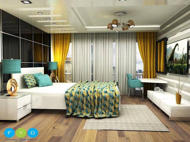 ​Punches of color keep a room feeling youthful and engaging. Modern style bedroom by FYD Interiors Pvt. Ltd Modern