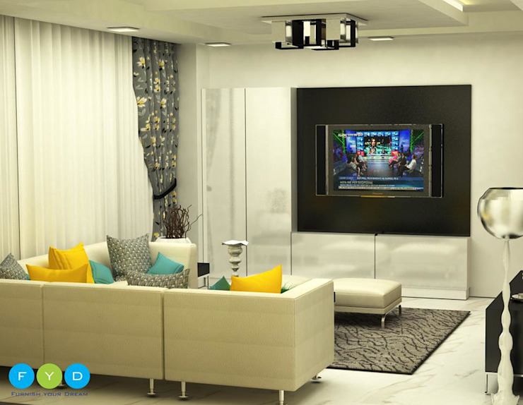 ​Punches of color keep a room feeling youthful and engaging. Modern living room by FYD Interiors Pvt. Ltd Modern