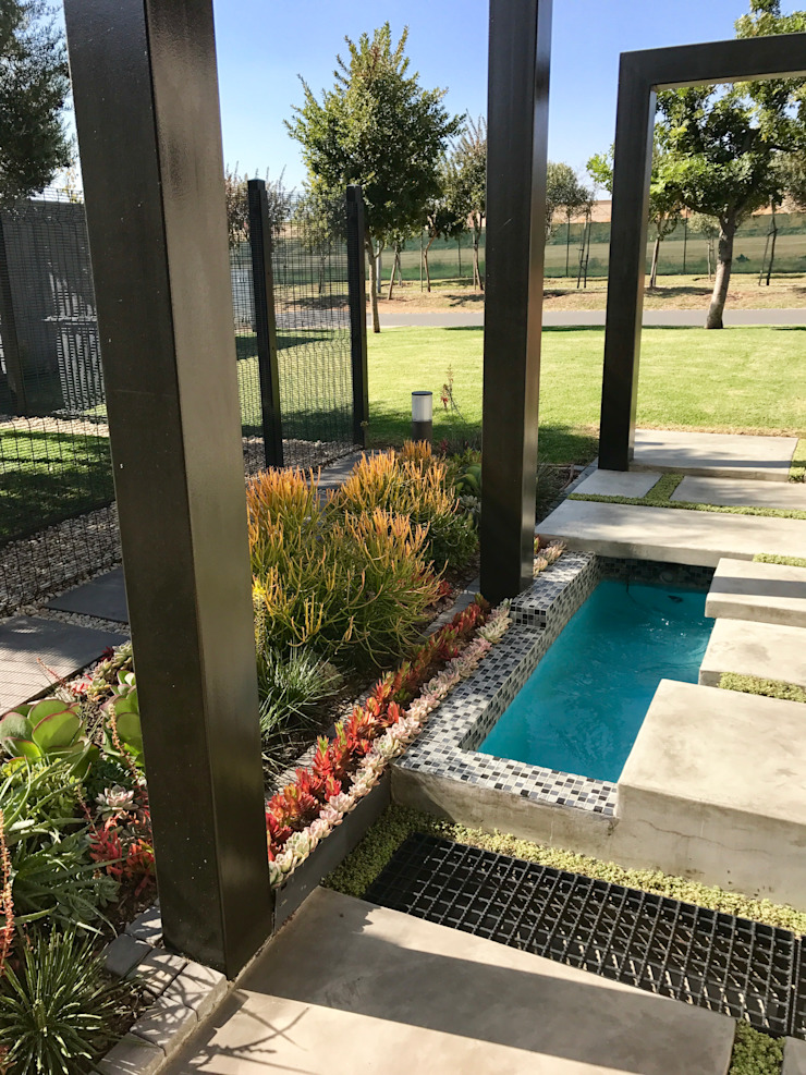 Entrance walkway with water feature Modern Garden by Acton Gardens Modern Concrete