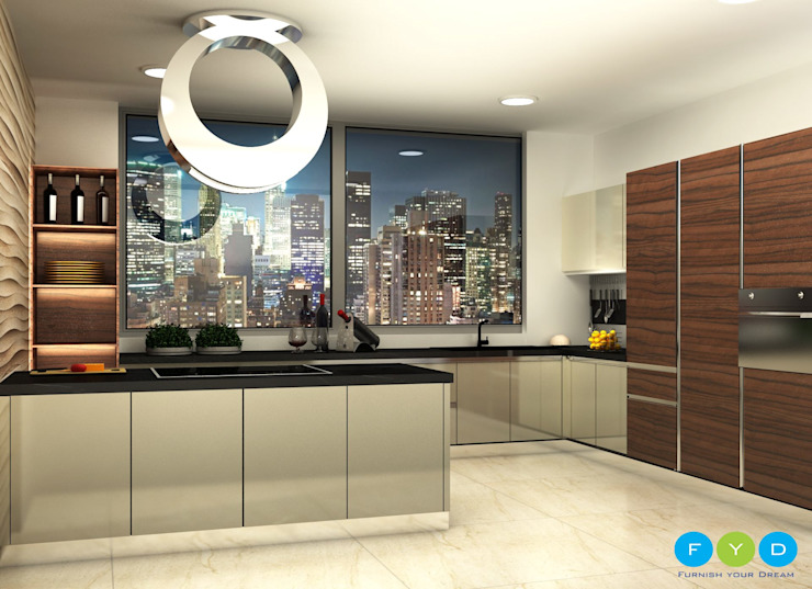 Design is not just what it looks and feels like - Design is How it works.:  Kitchen by FYD Interiors Pvt. Ltd