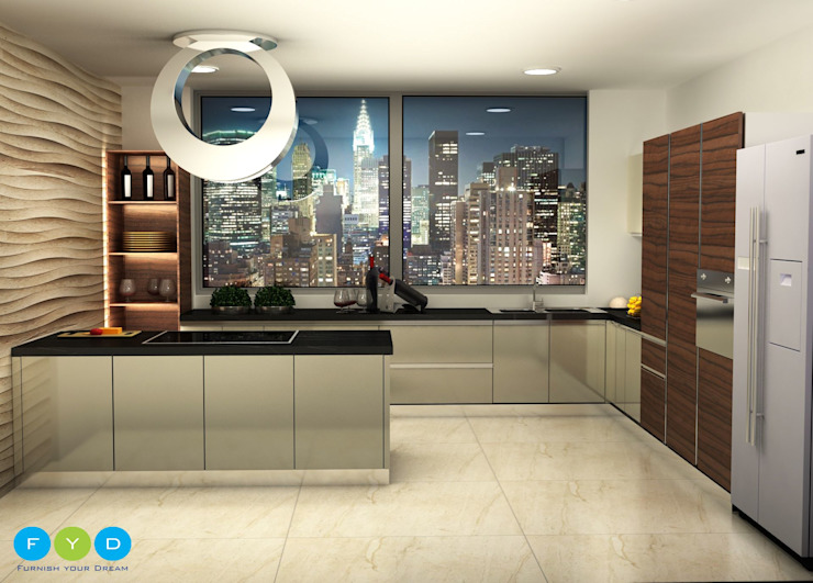 Design is not just what it looks and feels like—Design is How it works. Modern kitchen by FYD Interiors Pvt. Ltd Modern