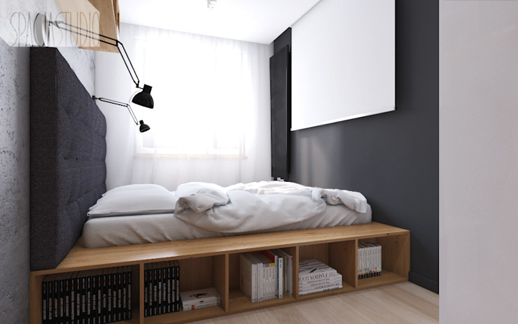 Modern Bedroom by Spacja Studio Modern Concrete