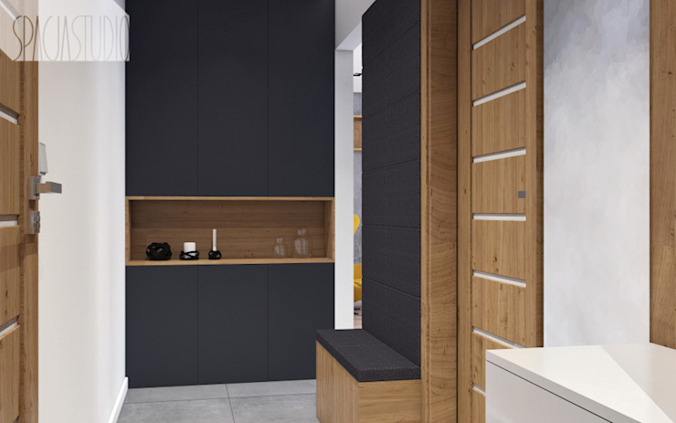 Modern Corridor, Hallway and Staircase by Spacja Studio Modern