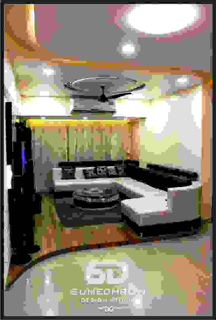 Raised Floor Informal Sofa Seating Area Modern Living Room by SUMEDHRUVI DESIGN STUDIO Modern