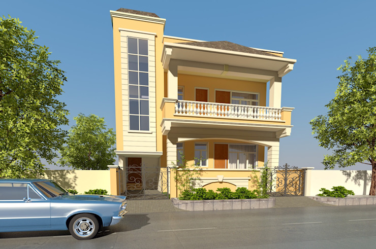 Villa in Vaishali nagar,Jaipur Mediterranean style houses by Aditya shrivastava Mediterranean Bricks