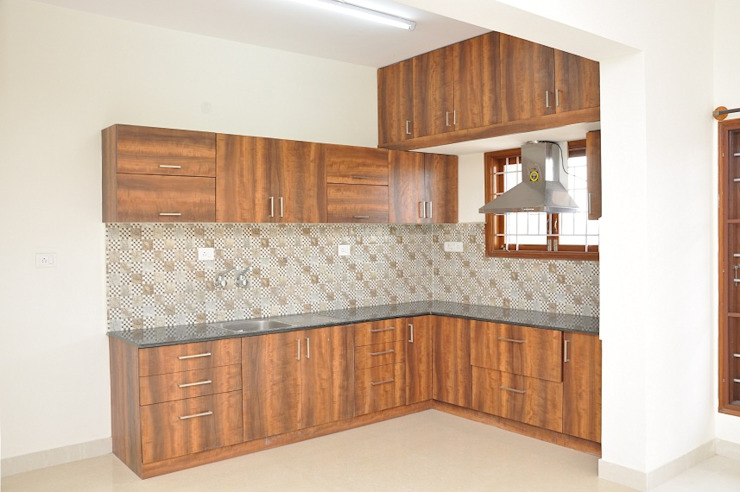 L Shaped Kitchen Design India Asian style kitchen by homify Asian Plywood