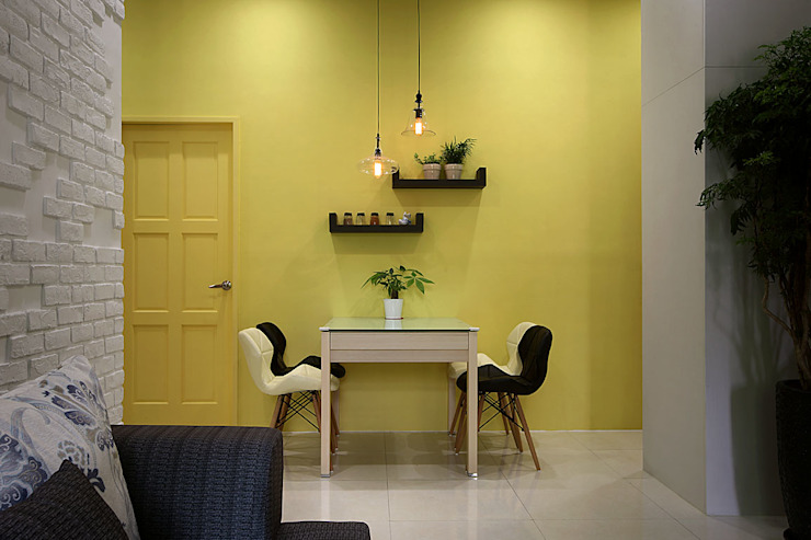 Mediterranean style living room by 品茉空間設計/夏川設計 Mediterranean Wood Wood effect