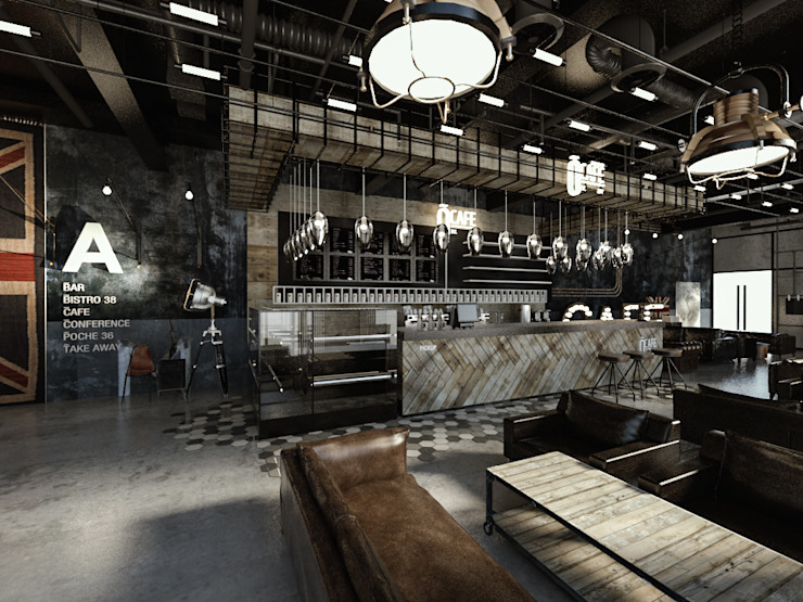 [Café ] 180평 패셔너블리한 공간 – 인더스트리얼 인테리어디자인 인더스트리얼 거실 by 디자인 이업 인더스트리얼