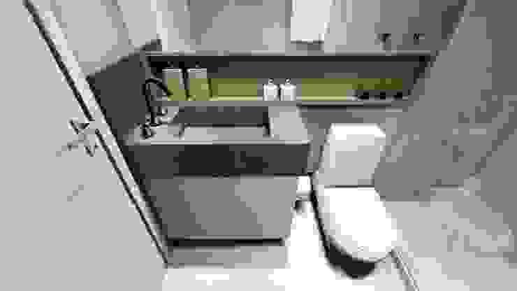 Apartamento compacto para jovem casal moderno Studio² Banheiros modernos