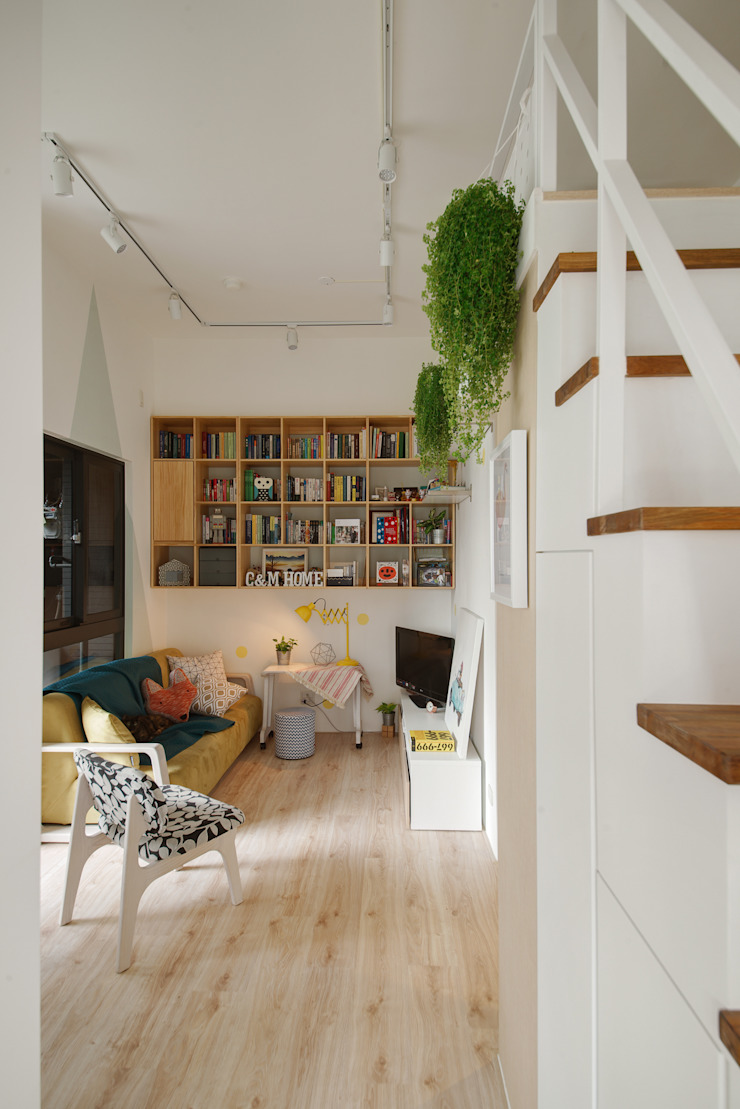客廳與書櫃 一葉藍朵設計家飾所 A Lentil Design 客廳