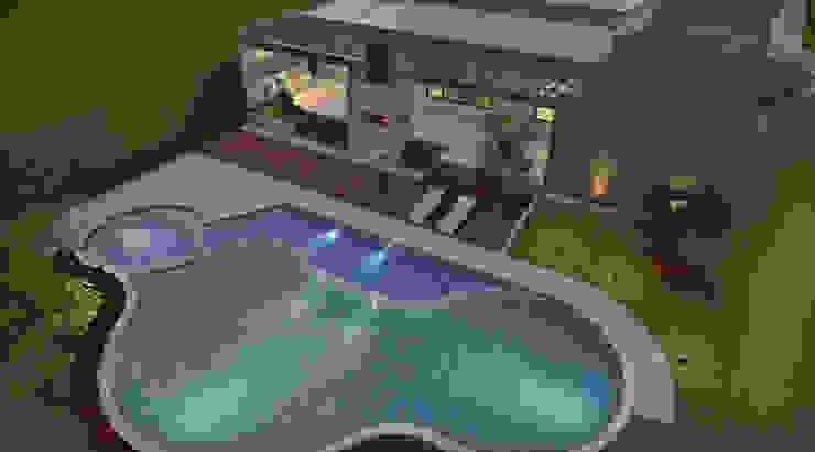 Vista aérea Zona Húmeda, piscina, Spa, B.B.Q. Casas modernas de Arquitecto Pablo Restrepo Moderno
