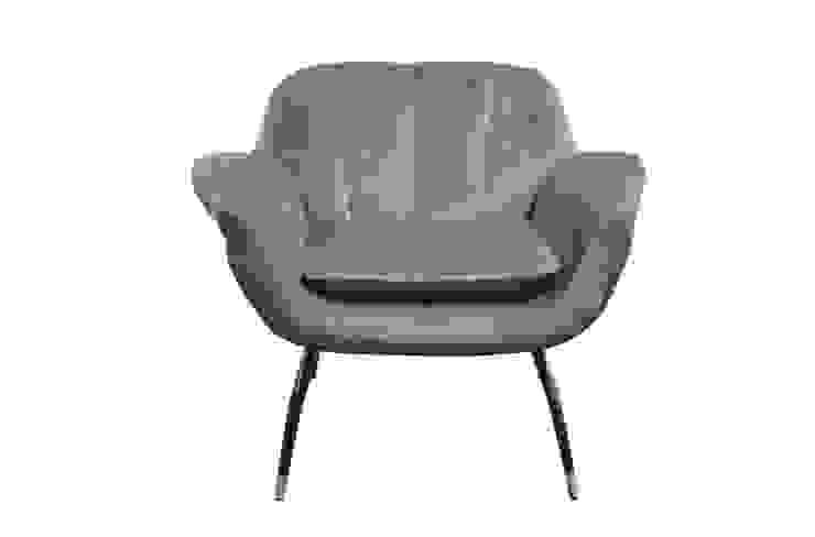 ABBY. blau-grauer Retro Sessel mit Samtstoff Bezug von MATZ-MÖBEL Ausgefallen Textil Bernstein/Gold