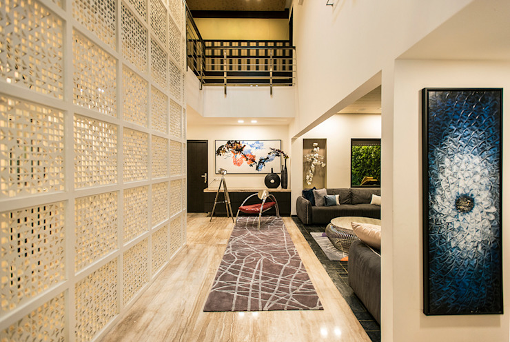 Lobby Modern corridor, hallway & stairs by Studio An-V-Thot Architects Pvt. Ltd. Modern
