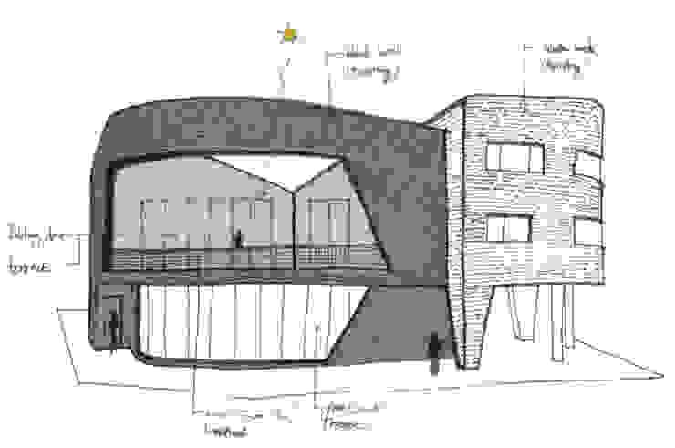 둥글둥글_춘천시 신동면 증리 880-4 상가주택: AAG architecten의 현대 ,모던