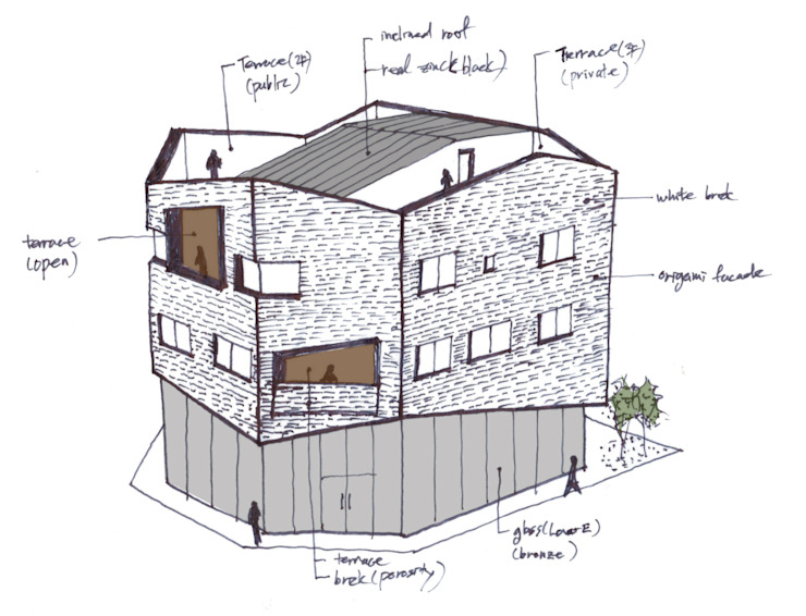 오리가미집_인천시 중구 운서동 3111-14 상가주택: AAG architecten의 현대 ,모던