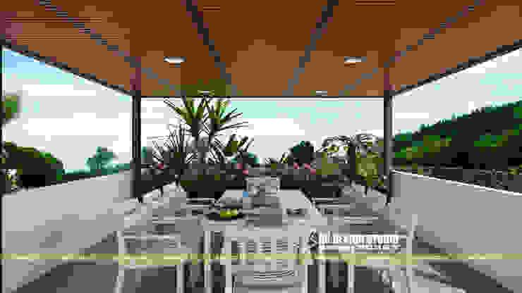 BIỆT THỰ HIỆN ĐẠI SÂN VƯỜN HỒ BƠI Hiên, sân thượng phong cách hiện đại bởi UK DESIGN STUDIO - KIẾN TRÚC UK Hiện đại