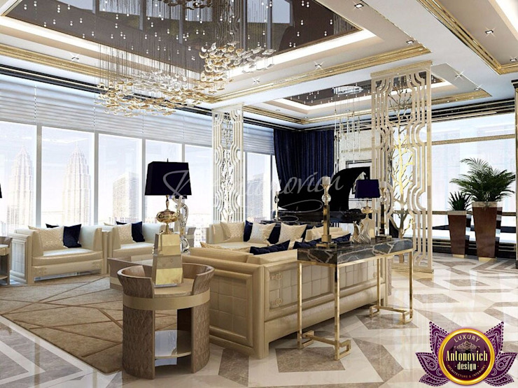 ​ Apartment interior Dubai of Katrina Antonovich Modern living room by Luxury Antonovich Design Modern