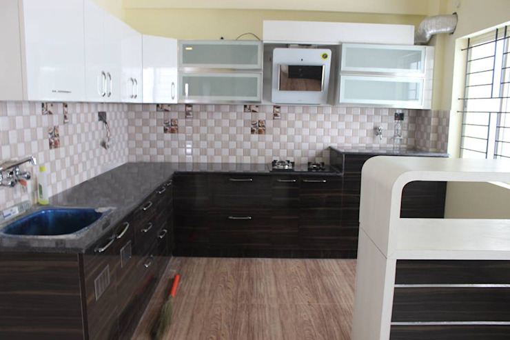 L Shaped Modular kitchen Designs by homify Asian Plywood