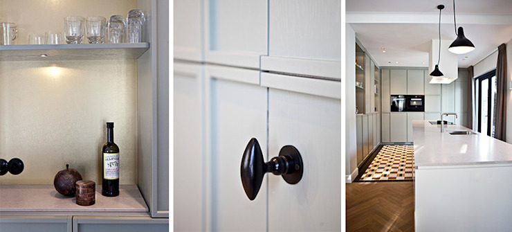 grijsgroene houten keuken: modern  door Binnenvorm, Modern Hout Hout