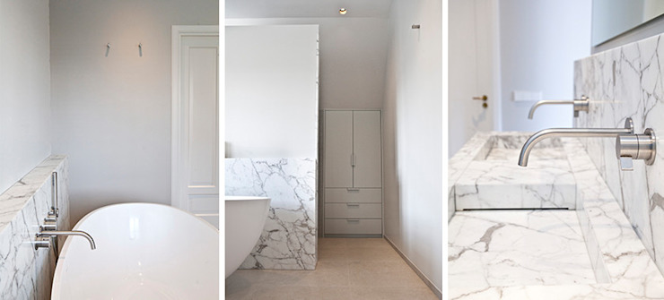 marmer maatwerk Binnenvorm Minimalistische badkamers Marmer Wit