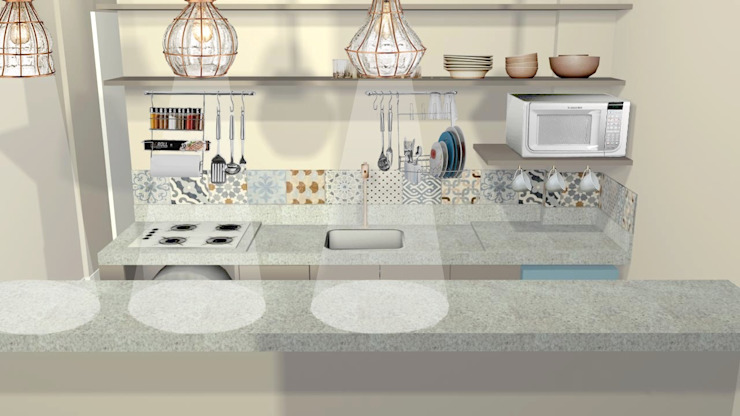 Cocinas de estilo ecléctico de PRISCILLA BORGES ARQUITETURA E INTERIORES Ecléctico