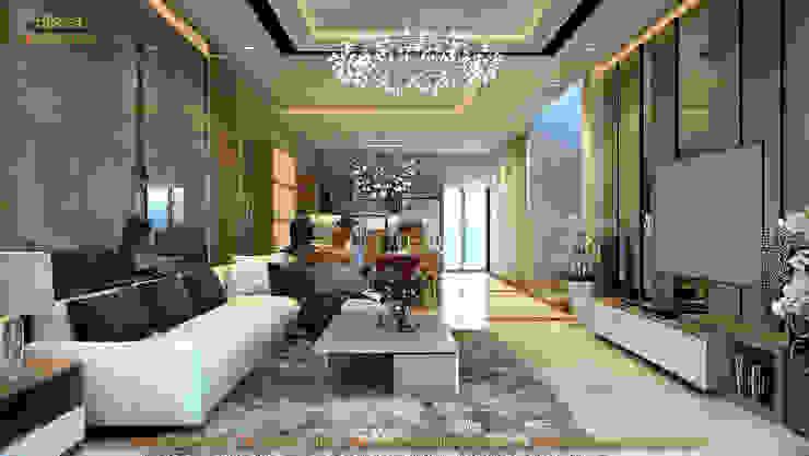 Phòng khách liên thông với phòng ăn và bếp: hiện đại  by Công ty TNHH Thiết kế và Ứng dụng QBEST, Hiện đại