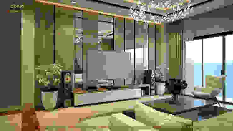 Phòng khách (Phương án 1): hiện đại  by Công ty TNHH Thiết kế và Ứng dụng QBEST, Hiện đại