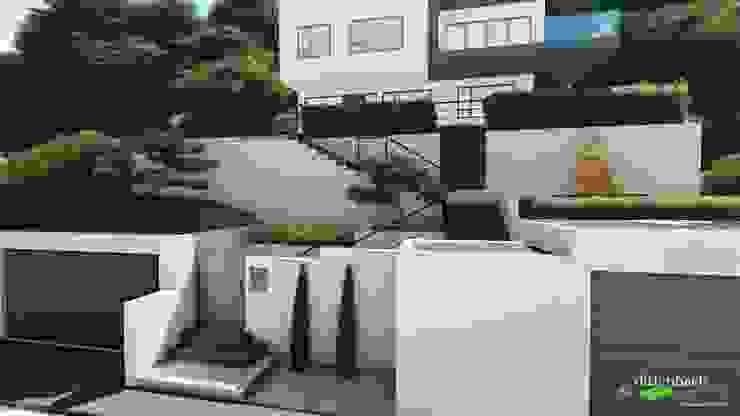 Gesamtansicht eines steilen Hauszugangs - passend zum Gebäude von dirlenbach - garten mit stil
