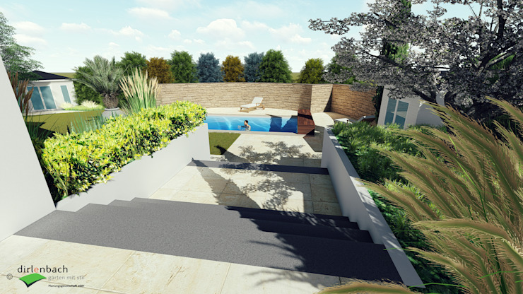 Poolgarten mit breiter Zugangstreppe dirlenbach - garten mit stil