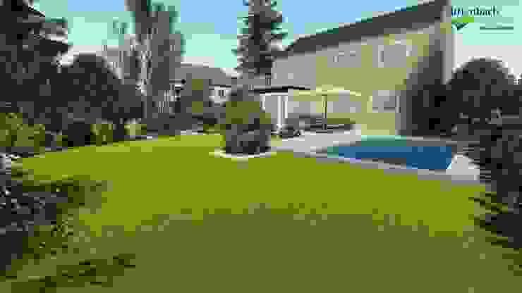 Visualisierung: Blick auf das Haus mit neuem Pool von dirlenbach - garten mit stil