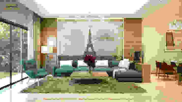 Phòng khách (phương án 2): hiện đại  by Công ty TNHH Thiết kế và Ứng dụng QBEST, Hiện đại
