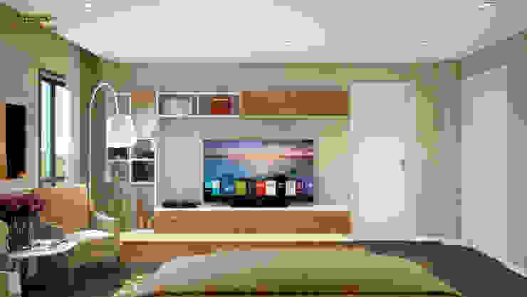 Phòng ngủ 1: hiện đại  by Công ty TNHH Thiết kế và Ứng dụng QBEST, Hiện đại