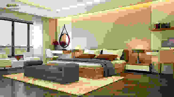 Phòng ngủ master: hiện đại  by Công ty TNHH Thiết kế và Ứng dụng QBEST, Hiện đại