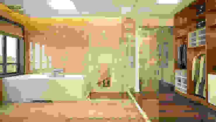 Không gian phòng tắm và phòng thay đồ: hiện đại  by Công ty TNHH Thiết kế và Ứng dụng QBEST, Hiện đại