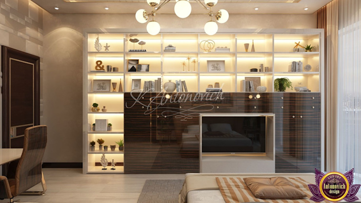  Bedroom interior in the Modern style of Katrina Antonovich Modern style bedroom by Luxury Antonovich Design Modern