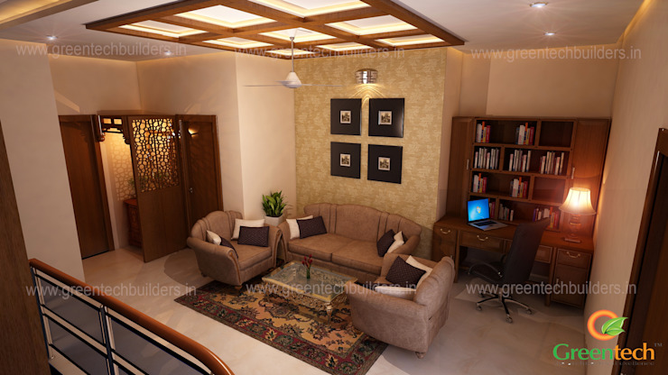 Best Interior Designers in Kochi Asian style living room by Greentech Interiors Asian Engineered Wood Transparent