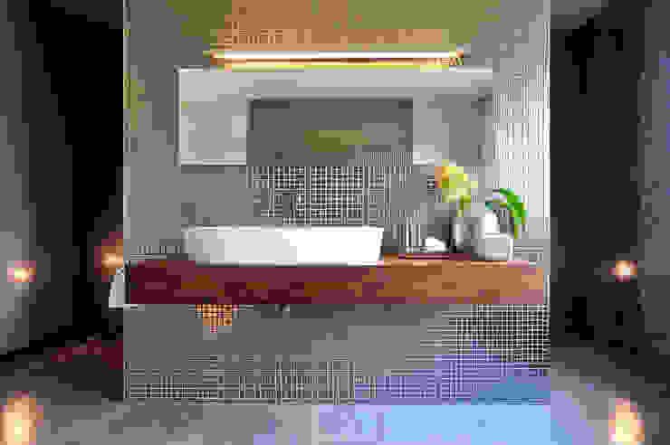 Villa in Hoppegarten, Masterbad büro13 architekten Moderne Badezimmer Fliesen Mehrfarbig