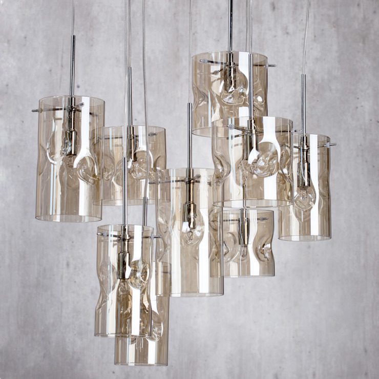 Monet 3 Light Champagne Tinted Glass Ceiling Pendant - Chrome Litecraft SoggiornoIlluminazione Vetro